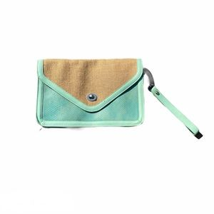Shirahleah Mint Green Woven and Snake print Clutch